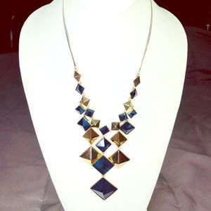 Jewelmint Navy and Gold-Toned Rhombus Necklace